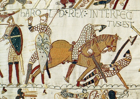 Harold Godwinson killed at Hastings from the Bayeux Tapestry